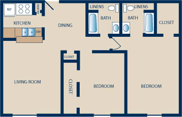 1,030 sq. ft. E-E1 floor plan