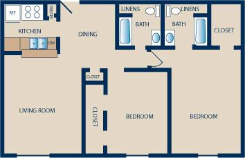 1,030 sq. ft. to 1,175 sq. ft. E-E1 floor plan