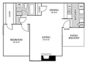 661 sq. ft. A1 floor plan