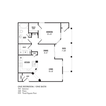 767 sq. ft. Serafina floor plan