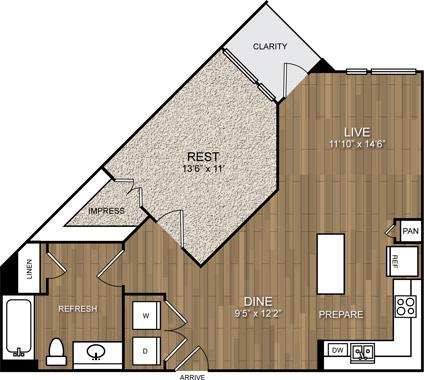 738 sq. ft. A6 floor plan