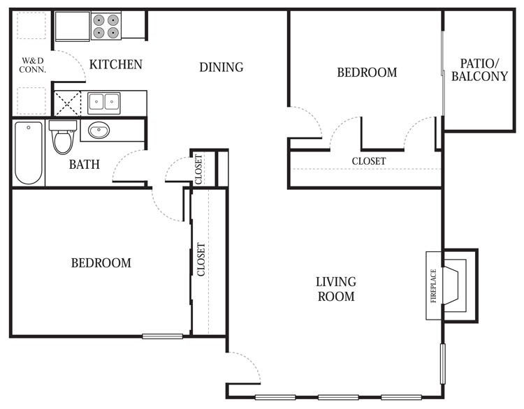 933 sq. ft. B2 floor plan