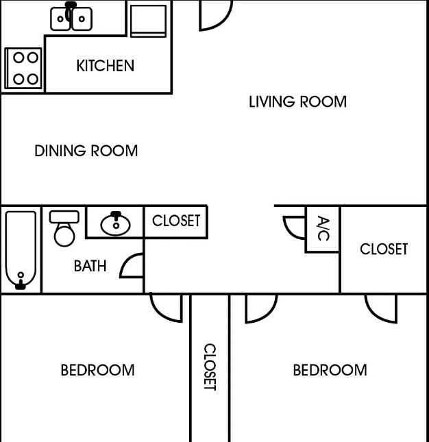 853 sq. ft. floor plan