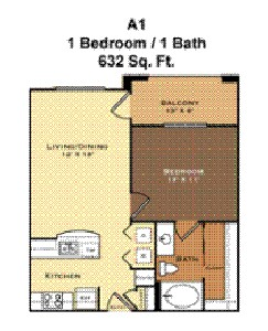 632 sq. ft. A1 floor plan
