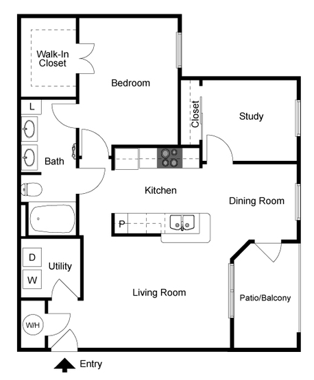989 sq. ft. Monarch floor plan