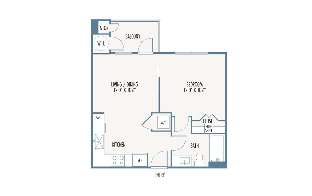 533 sq. ft. S1 floor plan