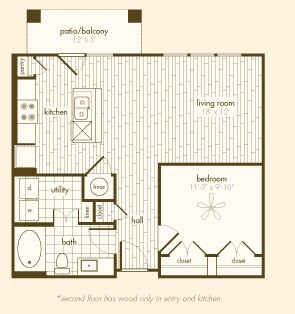 701 sq. ft. A1 floor plan