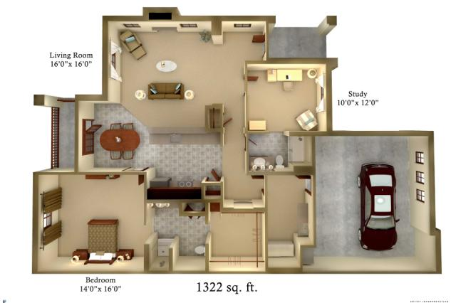 1,322 sq. ft. Cottage floor plan