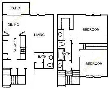 1,135 sq. ft. B5 floor plan