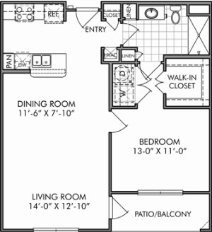 782 sq. ft. A2 floor plan