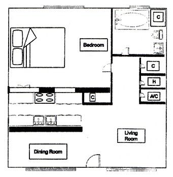 729 sq. ft. to 839 sq. ft. floor plan