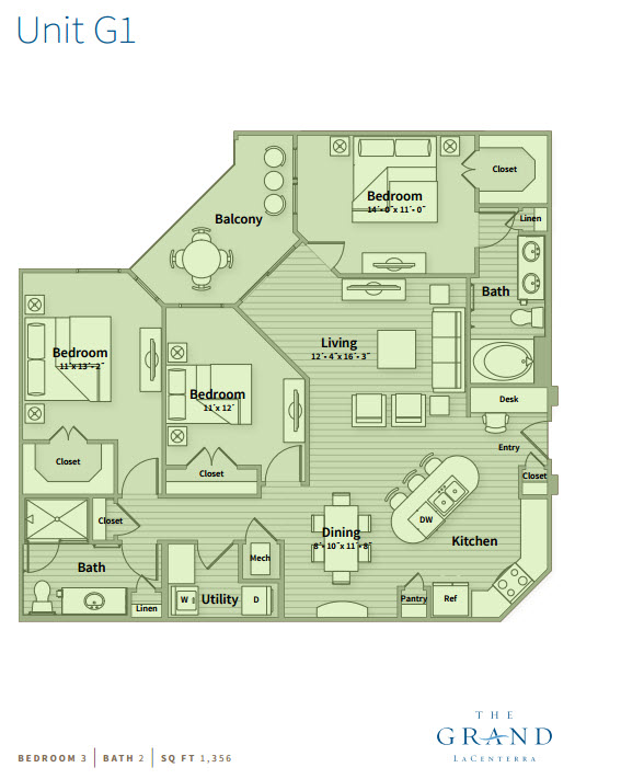 1,356 sq. ft. G1 floor plan