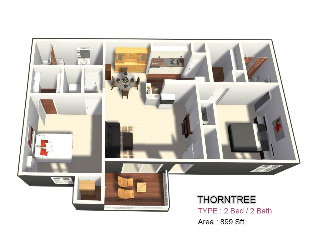 899 sq. ft. F floor plan