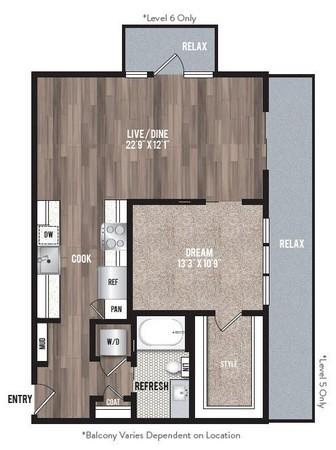 833 sq. ft. A2.2 floor plan