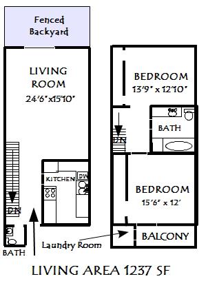 1,237 sq. ft. Hamilton floor plan