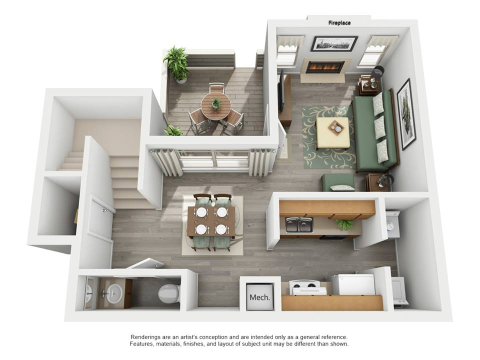 886 sq. ft. F -  Riverside floor plan