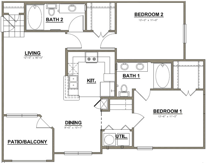 1,039 sq. ft. Live Oak floor plan