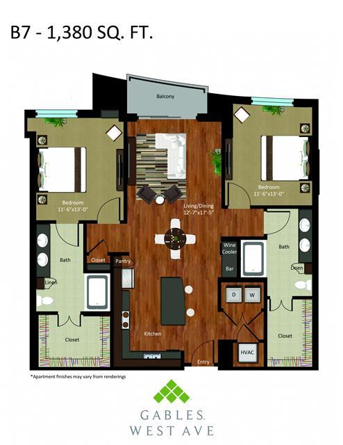 1,380 sq. ft. DB7 floor plan