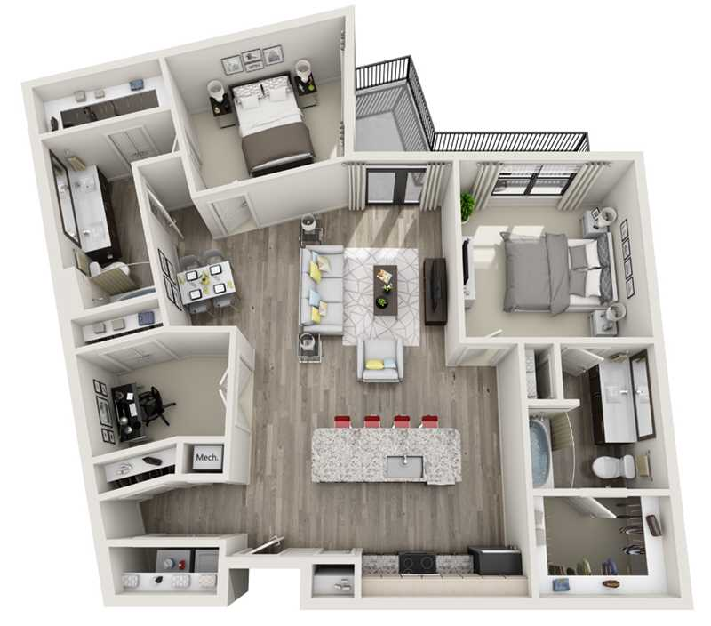1,330 sq. ft. B6 floor plan