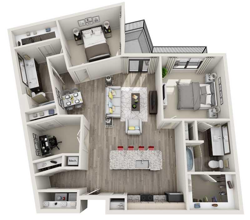 1,330 sq. ft. B6 floor plan