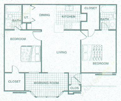 911 sq. ft. B1MR floor plan