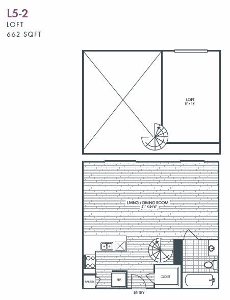 662 sq. ft. L5-2 floor plan