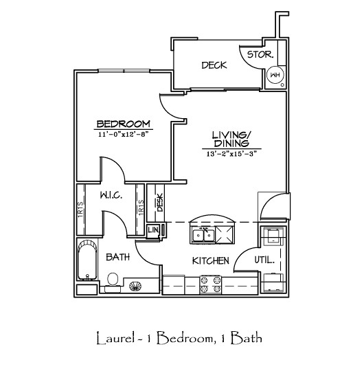 650 sq. ft. LAUREL floor plan