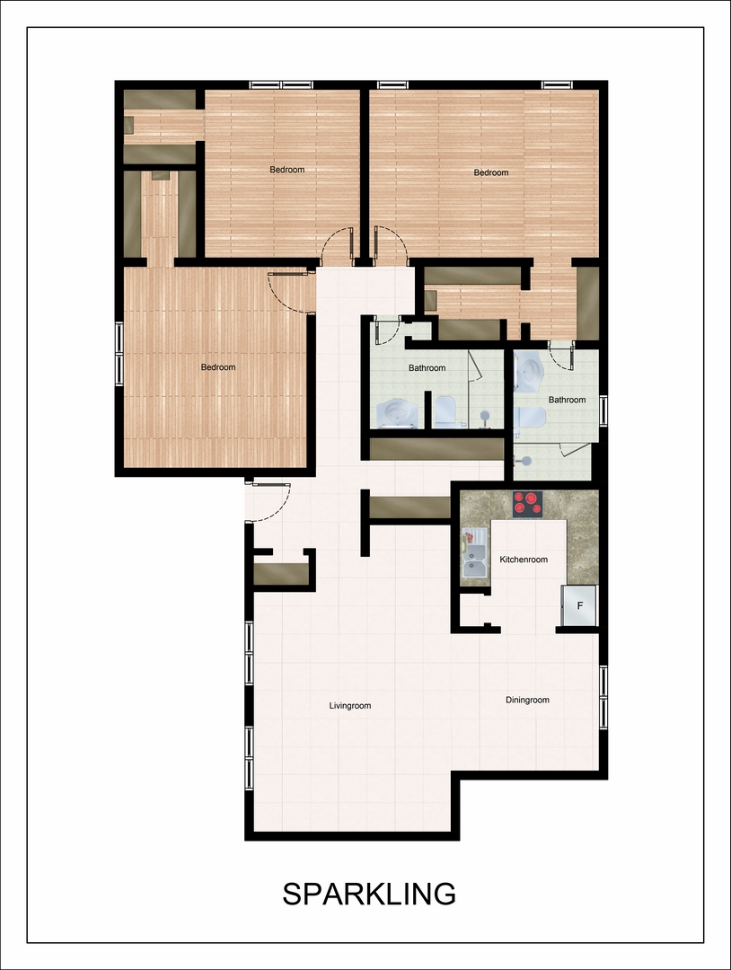 1,300 sq. ft. Sparkling floor plan