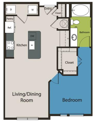 760 sq. ft. A1.4 floor plan