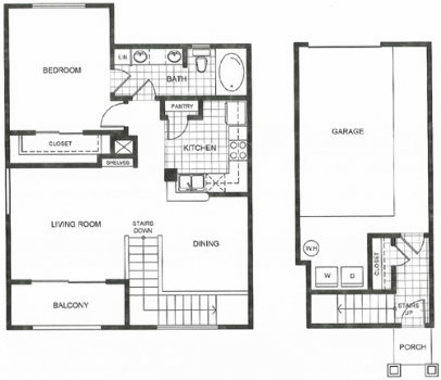834 sq. ft. B2 floor plan
