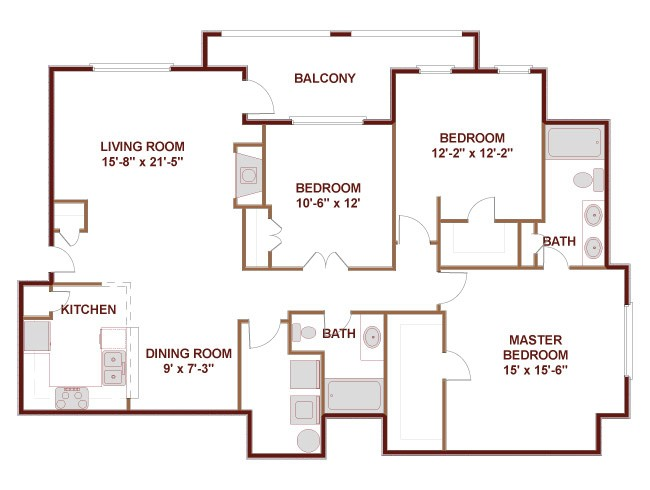 1,434 sq. ft. to 1,675 sq. ft. 32CG floor plan