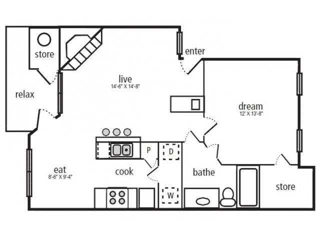 751 sq. ft. Arbor floor plan
