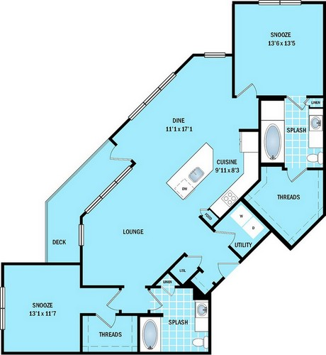 1,344 sq. ft. B5 floor plan