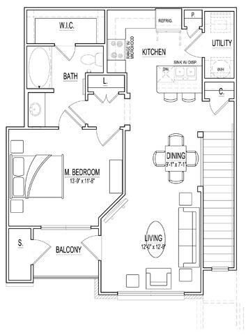 840 sq. ft. A1 Up floor plan