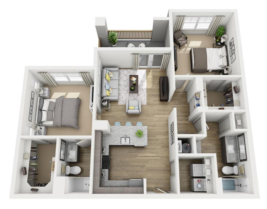 1,015 sq. ft. B1 floor plan