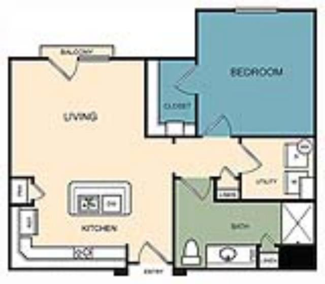 690 sq. ft. Northgate floor plan