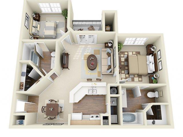 893 sq. ft. Mira Mar floor plan
