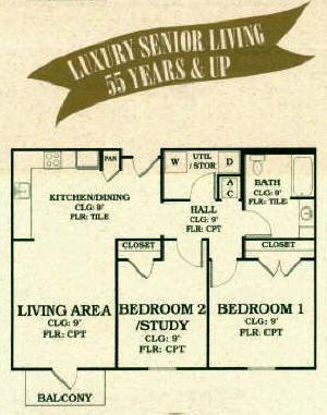 936 sq. ft. 60% floor plan