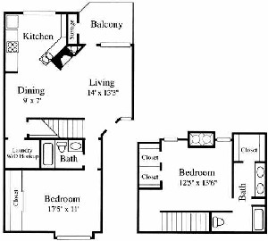 1,222 sq. ft. TH4 floor plan