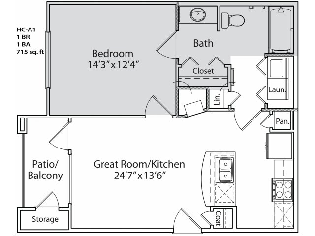 650 sq. ft. HC-A1 floor plan