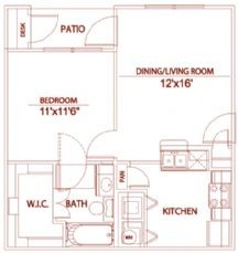 564 sq. ft. A1 willowbrook floor plan