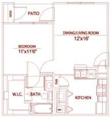 564 sq. ft. A1 willowbrook floor plan