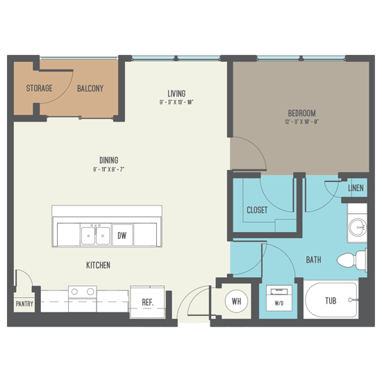 712 sq. ft. A5 floor plan
