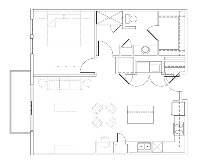 836 sq. ft. Rodman floor plan