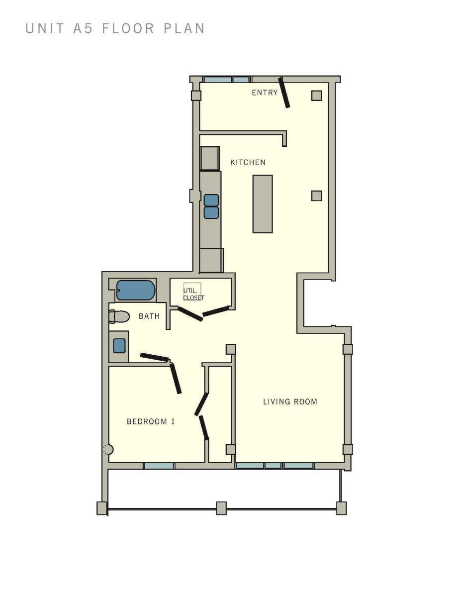 757 sq. ft. A5 floor plan