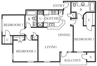 1,200 sq. ft. C1/C1r floor plan