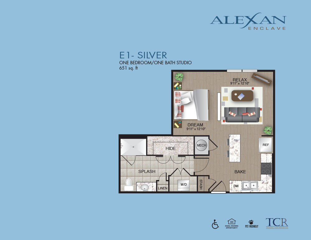 651 sq. ft. E1 floor plan