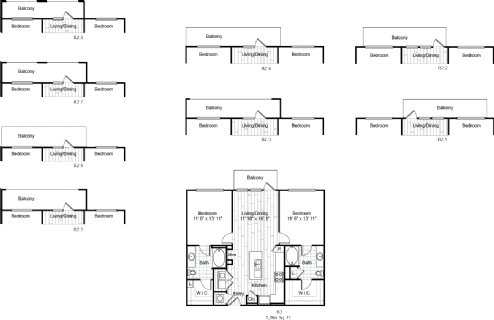 1,094 sq. ft. B2 floor plan