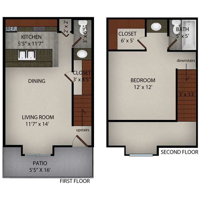 720 sq. ft. Delano floor plan