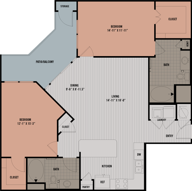 1,235 sq. ft. B3 floor plan